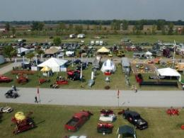 Overhead picture of Farm Science Review exhibit area