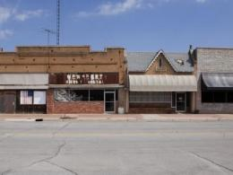 Rural downtown with abandoned stores