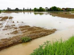 Photo of a flooded dirt field.